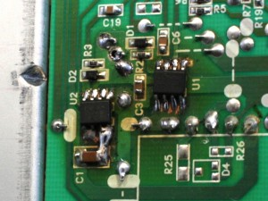 Power transistors of the inverter replaced with similar compoents from a PC main board