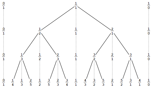 Stern-Brocot tree of positive rational numbers